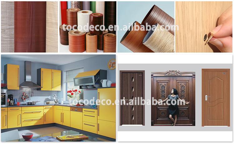 Decorative self adhesive wood grain vinyl film laminate for Vinyl paper for kitchen cabinets