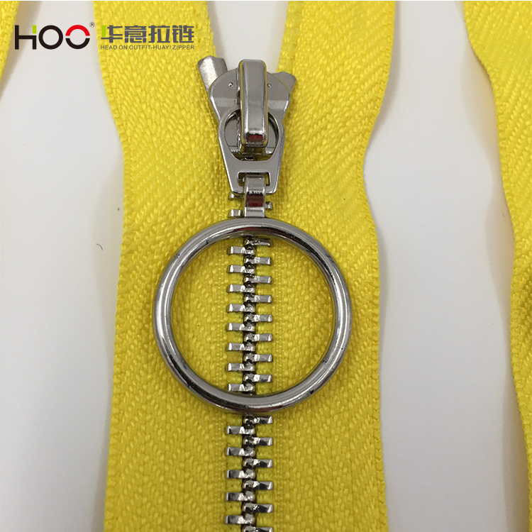#5 circular pull piece yellow tape open end metal zipper