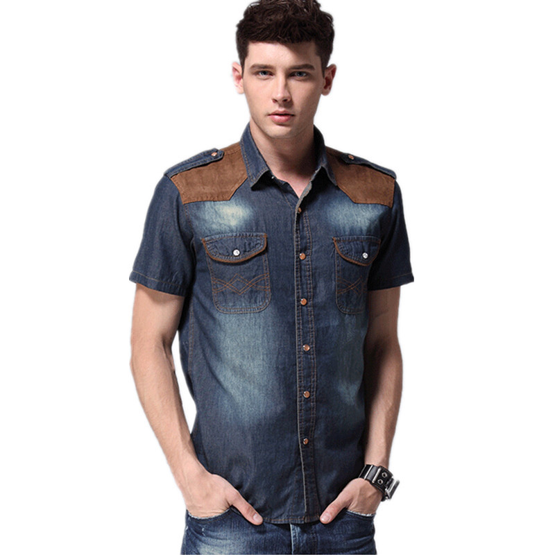 WSPLYSPJY Mens Fashion Short Sleeve Slim Fit Button Down Cargo Shirts for Men