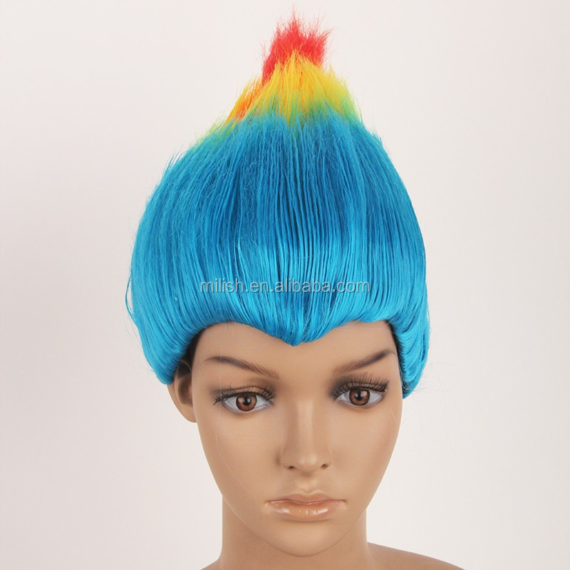mpw 0385 carnaval party deluxe color rianbow grand troll perruque - Perruque Colore