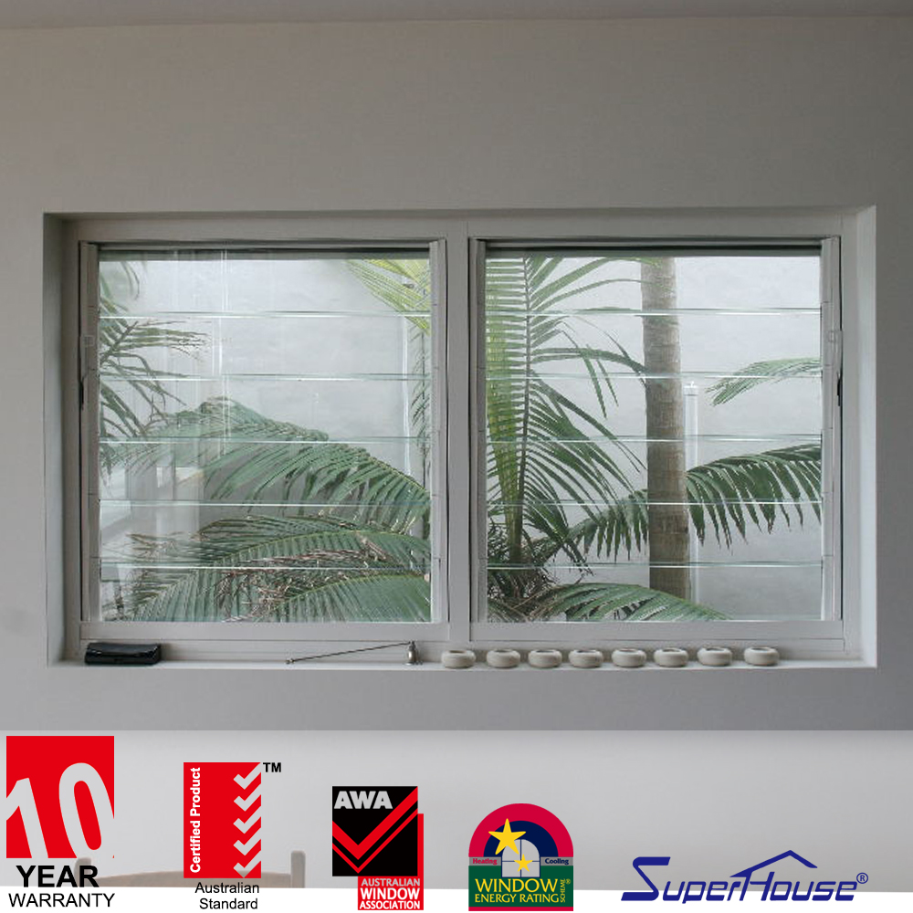 Australia Hot Sale Aluminum Frame Glass Louvre Window with Flyscreen