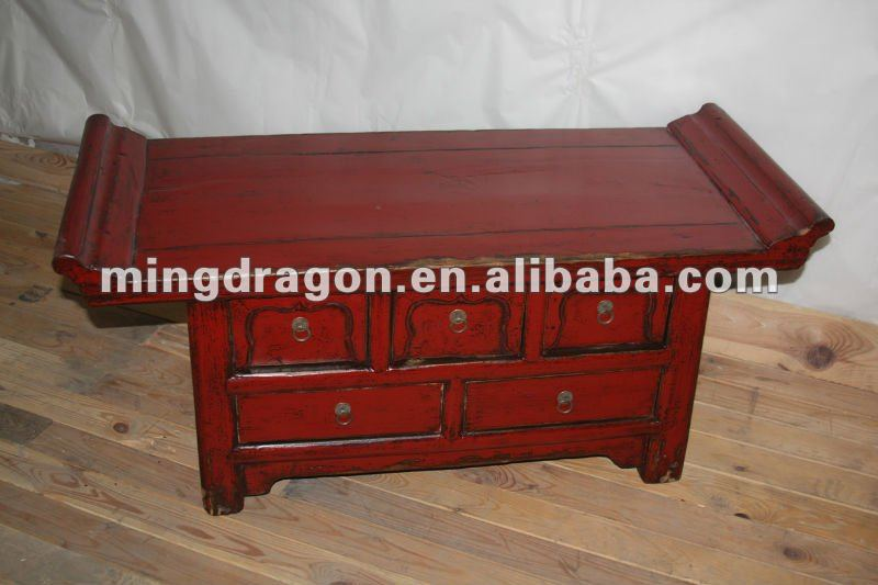 Chinese Antique Red Five Drawer Lacquer Table Console Altar Product On Alibaba