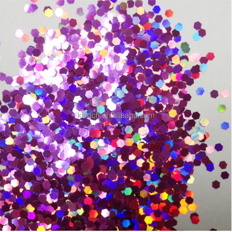 Wholesale price hexagon glitter shapes 1mm Pink Holographic glitter for body face nail