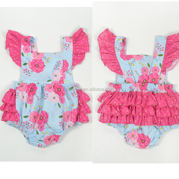 b214505fe509 2018 Hot selling baby girls spring summer boutique clothing wholesale infant  ruffle bubble floral rompers