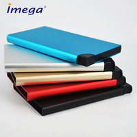 Fashion high quality custom leather metal acrylic plastic mens push button pass RFID blocking business card holder
