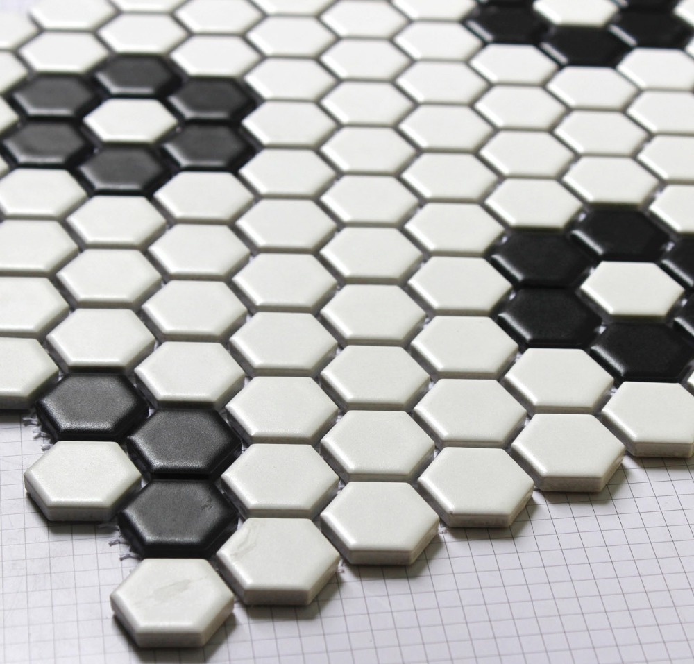 hexagon mosaics tile black and white parquet mosaic puzzled tiles bathroom floor kitchen. Black Bedroom Furniture Sets. Home Design Ideas