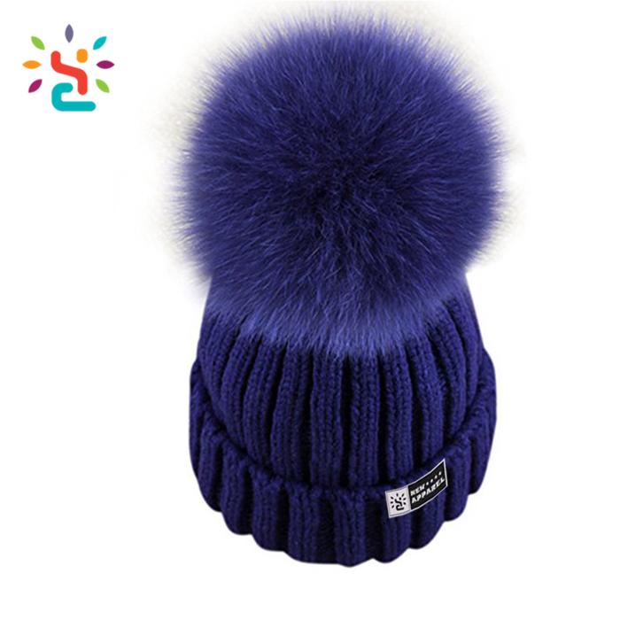 5356f154c613a Custom Detachable fur ball oem winter hats girls green knitted ski cap  design 100% cotton pom pom beanies hat own biggest ball