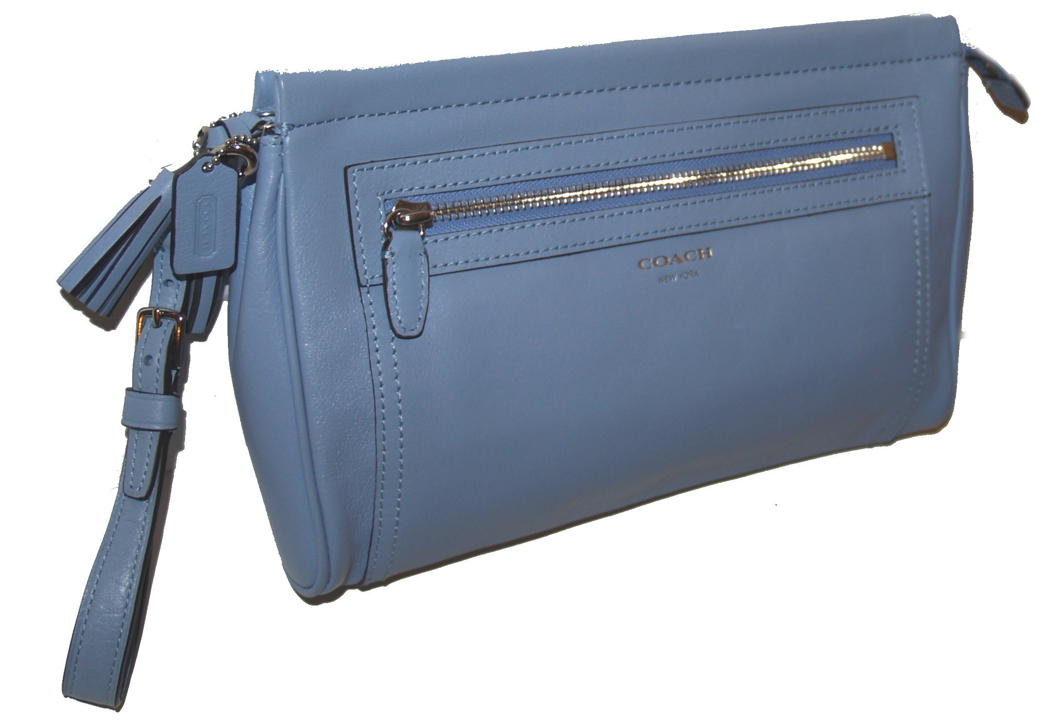cb5f6953ca0d Get Quotations · Coach Legacy Leather Large Clutch Wristlet Chambray Makeup  Travel Case