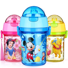 New Kids Drinking Cartoon Water Bottles BPA Free Plastic Straw water Bottle 600ml