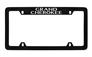 Jeep Grand Cherokee Black Metal license Plate Frame Holder, Top Engraved 4 Hole