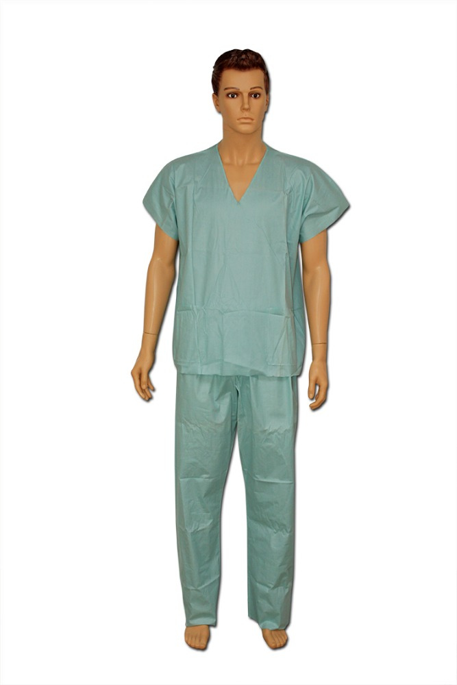 Disposable Staff Apparel Nonwoven Spunlace Scrub Suits Green, Blue Pink