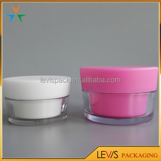 Alibaba gold supplier pink plastic 20g double wall cosmetic jar