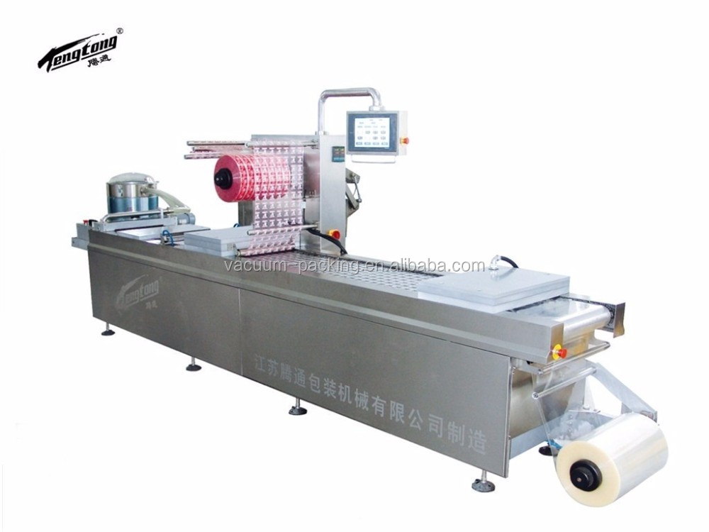 automatic gas flushing food skin pack vacuum packaging machine, dates thermoforming vacuum sealer
