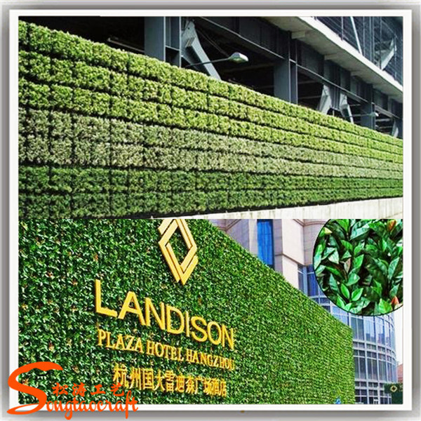 Artificial grass wall made of artificial green leaf fence for Artificial grass decoration