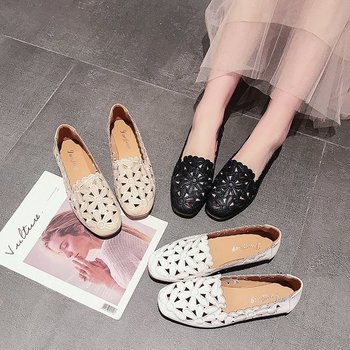 Ladies Fashion Casual Shoes Newest Popular Hollow Flat Shoes Soft Comfortable Women Loafer Wholesale