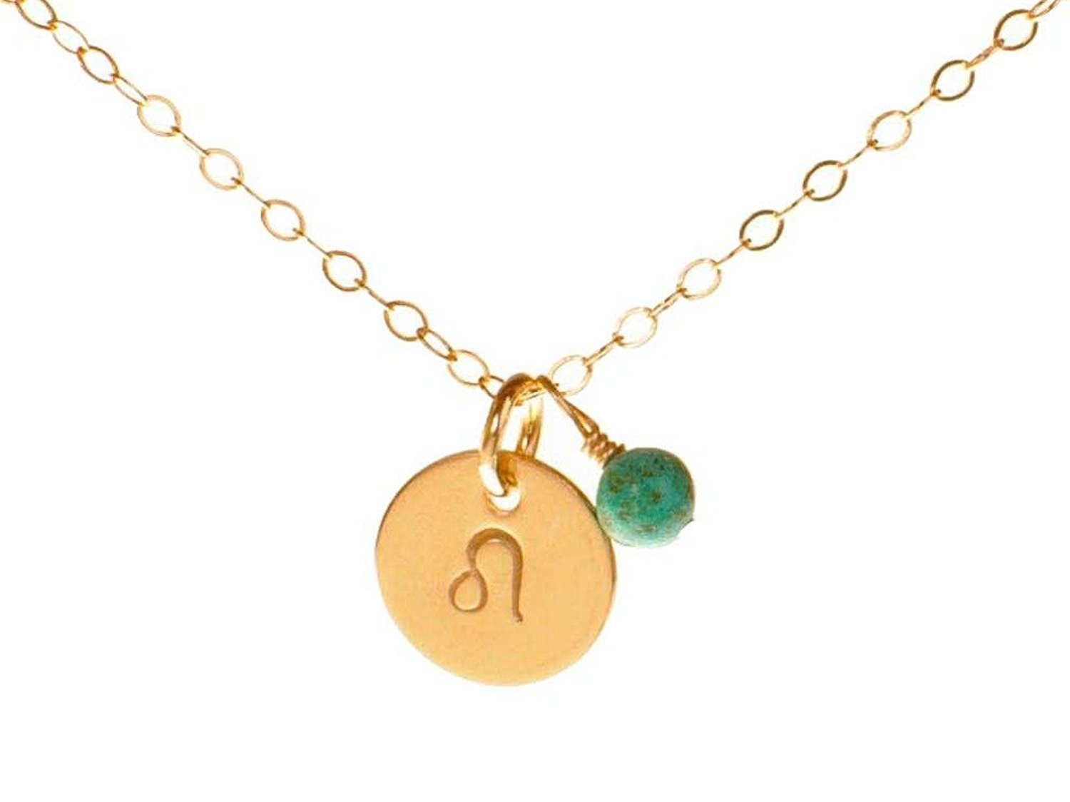 d289f9356cced5 Get Quotations · Leo Necklace - Tiny Gold Filled Simple Zodiac Sign with  Birth Month Charm, Zodiac Pendant