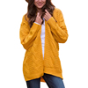 Hot Style Winter New Fashion Yellow Loose Long Sleeve Knitted Lady Sweater Cardigans