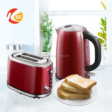 Red stainless steel toaster and stainless steel electric kettle