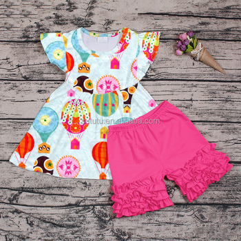 Sue Lucky wholesale hot ballon pattern tunic with hot pink shorts summer outfit for baby girl