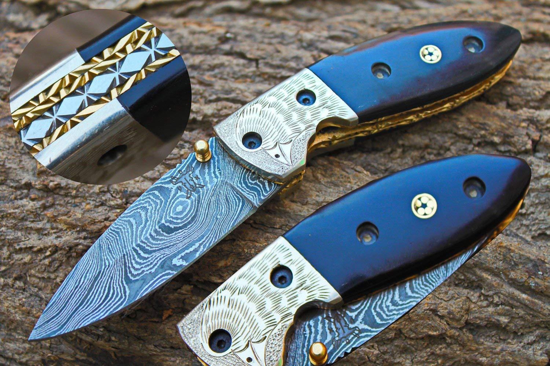 "3.1""Damascus Blade Custom Folding Knife w/ Buffalo horn, Liner Lock, Extream File-work,Engraved Steel Bolsters & Custom Sheath UDK-F-USa-47"