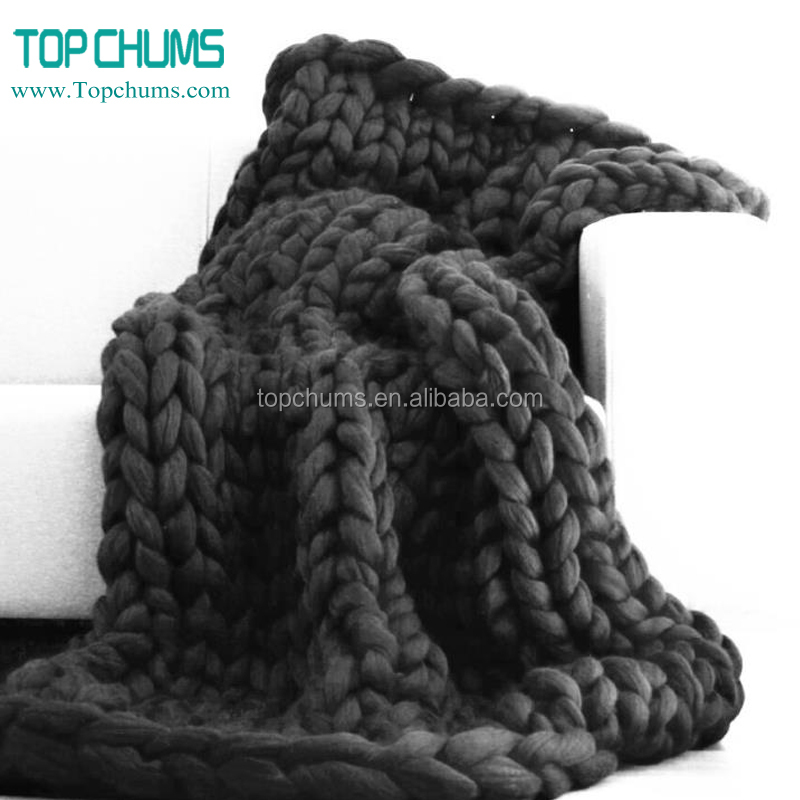 Wholesale polyester acrylic wool chunky knit throw blanket