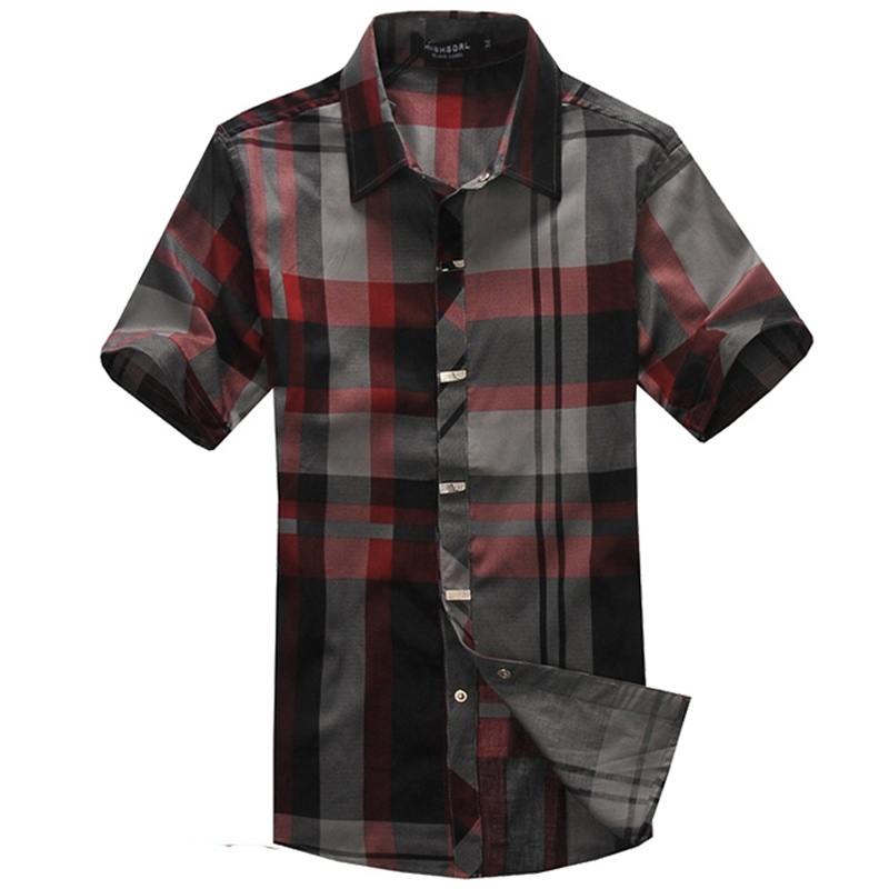 2015 Summer Fashion Cool Metal Buckle Slim Shirts Modified Male Short Sleeve Black Red Grey Plaid Shirt For Men