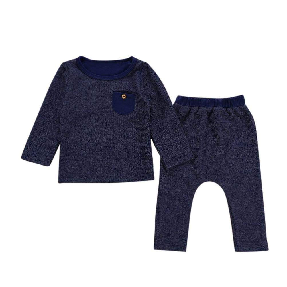 Baby Pajamas Sets,Jchen(TM) 2Pcs Newborn Infant Baby Boys Girls Solid Pocket Long Sleeve Tops Pants Outfits Autumn Sets for 0-24 Months (Age: 6-12 Months)