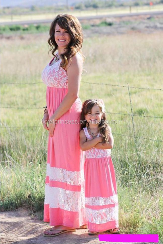 Nuevo diseño encaje madre hija vestidos vestido matching madre hija ...