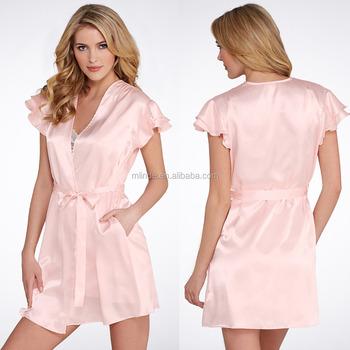 810cca560df4 Sexy Luxe Wrap Pink Silk Stain Pajamas for Beautiful Women Ladies Clothing  Pajamas Sleepwear Bathrobes Wholesale