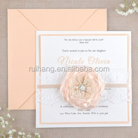 yellow rose with brooch and ribbon wedding invitation card