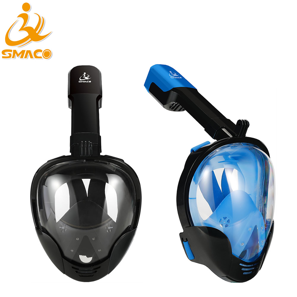 SMACO Amazon 180 View Panoramic GoPro Compatible Snorkel Mask Full Face Snorkeling Swimming Diving Mask