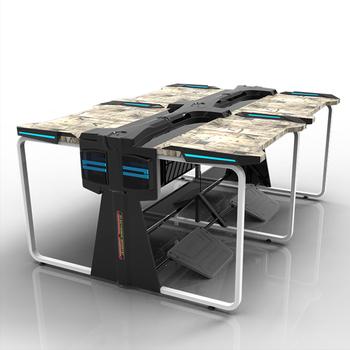 Hot Sale Internet Cafe Computer Desk Table Double Seat Design