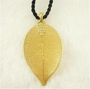 gold leaf pendant natural plant leaf 24k gold plated