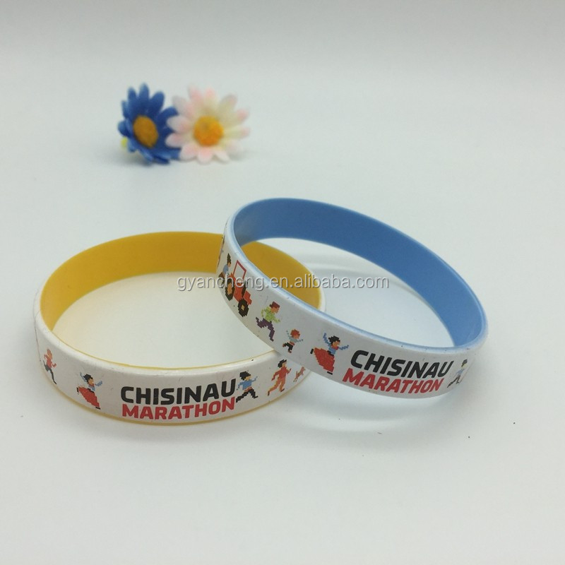 Give away logo printed 1 inch silicone wristbands