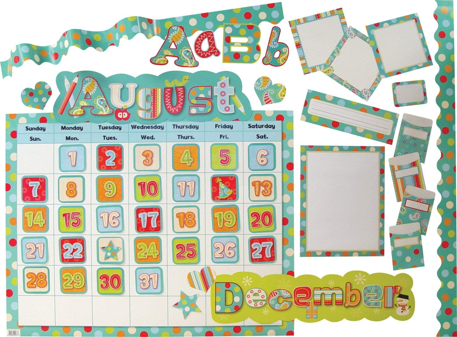 Creative Teaching Press 7947 Dots on Turquoise Designer Classroom Set
