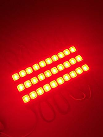 CO-RODE 40Pcs Waterproof 12v Injection 5730 SMD 3 LED Module Light Lamp with Lens for LED Channel letter and Car Decoration Red Color