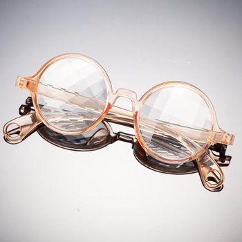 991acc82b1113 Painel de cristal transparente rosa claro rodada quadro claro lente de  difração óculos caleidoscópio ...
