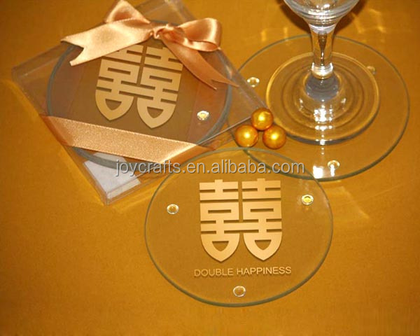 Wedding Favors Return Gift Asian Double Happiness With Gold Silk Ribbon Glass Coaster