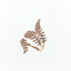 Echsio High Quality Gold Ring Design For Ladies CZ Zirconia Jewelry To Prom Party Gift Size Adjustable Special Leaf CP399