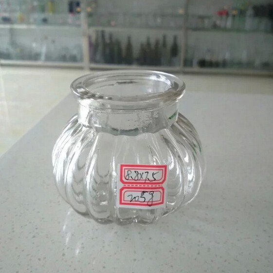 Small decorative clear glass bottles and jars in different for Small colored glass jars