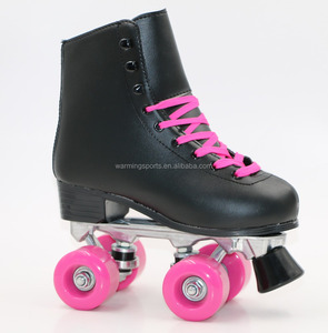 High Quality Leather Upper Black Color Middle Heel Aluminum Alloy Support Woman Girls Quad Roller Skates