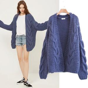 chompas de lana para mujer cropped loose hand knitted women knitwear
