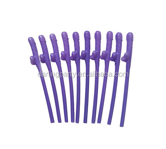 hotselling purple color hen party willy straws