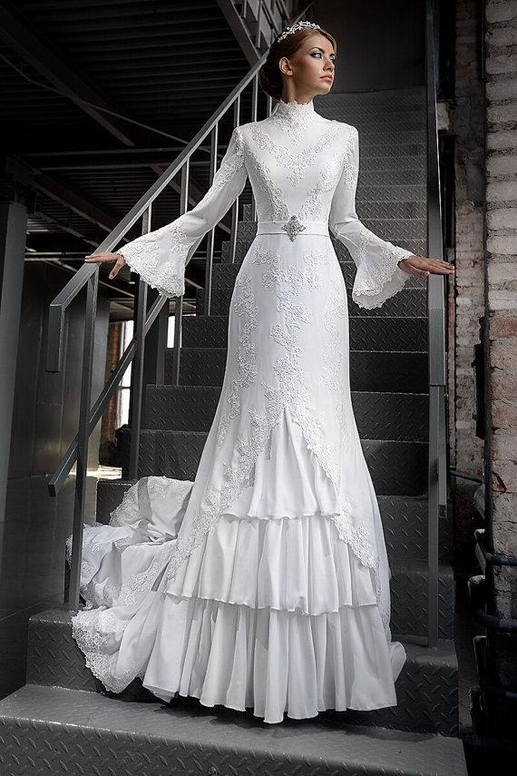 Popular Bell Sleeve Wedding Dresses Buy Cheap Bell Sleeve