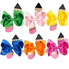 Boutique 4 Inch Back To School Day Colorful Pencil Hair Bow With Clip