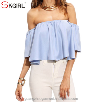 White Blue Loose Off Shoulder Crop Tops And Blouses For Women Summer Latest  Fashion New Design - Buy Women Off Shoulder Crop Tops And Blouses,New