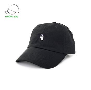 5a3a07ef Custom small embroidery logo adjustables fresh black dad hat leather strap