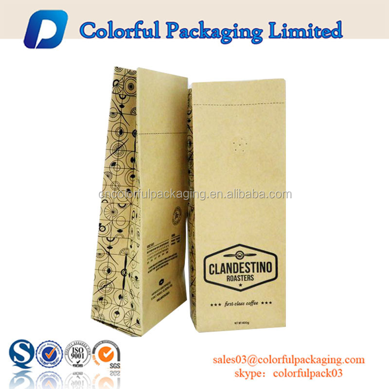 Zipper KRAFT Stand Up Pouch for coffee with valve/Custom Kraft coffee packaging bag with ziplock&valve