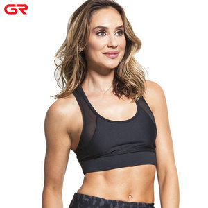 Moisture wicking Private Label Back Zipper Mesh Panel Ladies Sports Bra