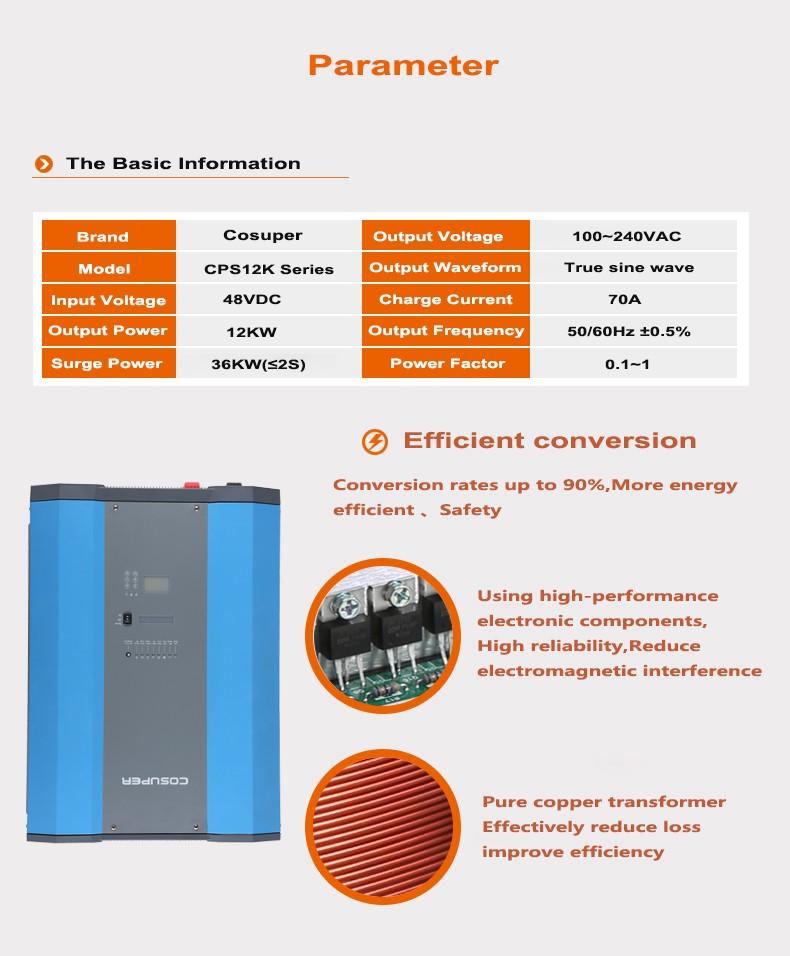 energy storage 48 volts 12kw mppt 12000w solar power inverter with mppt